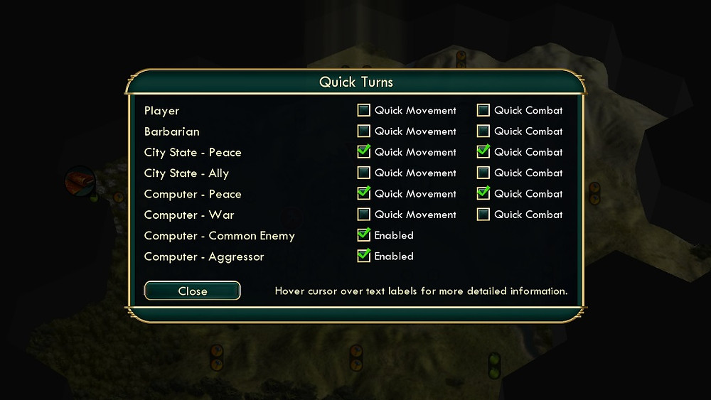 A Quick Turns menu hovers over a map, with options to adjust the quick movement and quick combat of the player, barbarians, city states, and computer.