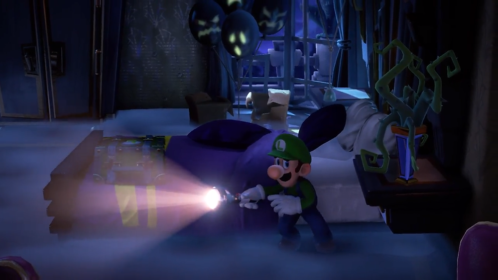 Luigi stands in a spooky mansion, shining a flashlight through the fog. He is exploring a dimly lit bedroom with ghost faces behind him.