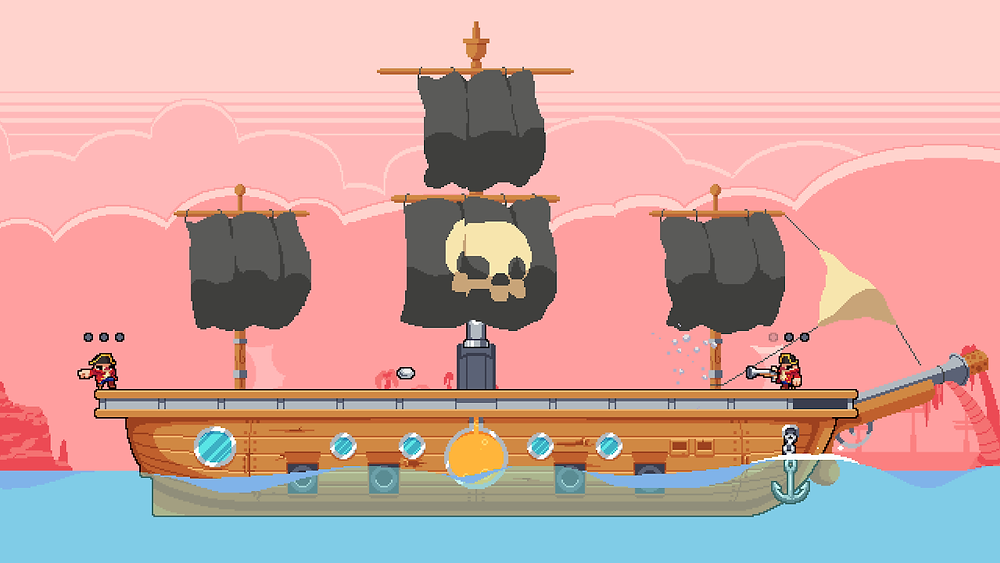 Two characters stand on the deck of a ship