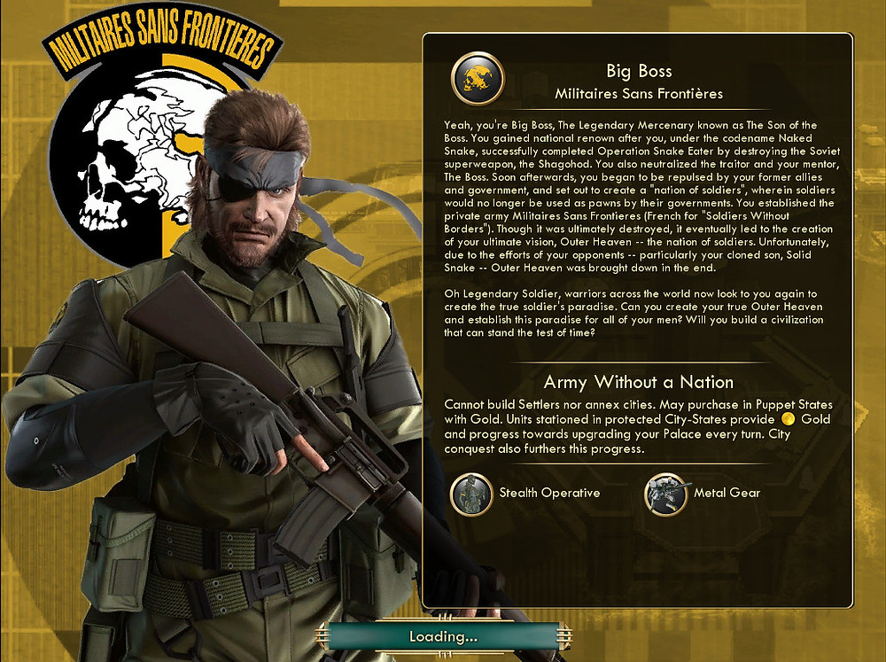 Big Boss looks directly forward, holding a large automatic weapon. A text box beside him gives information about his character.