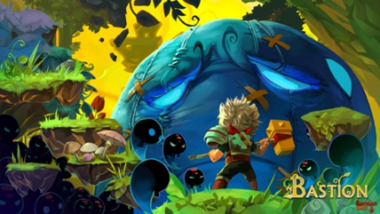 A small character stands on a patch of grass, looking at a giant blue bulbous face