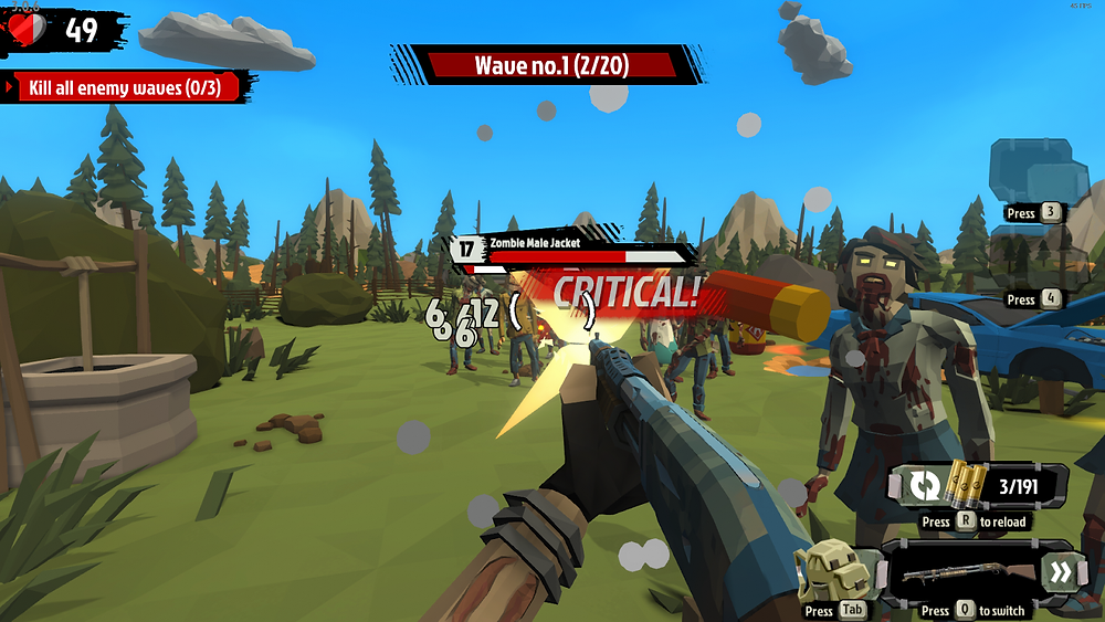 The main character, Ace, shoots at a wave of zombies approaching.