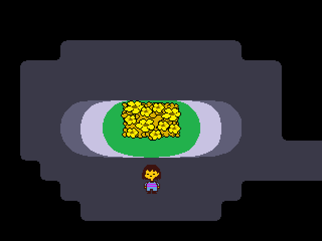 A small character approaches a garden with yellow flowers.