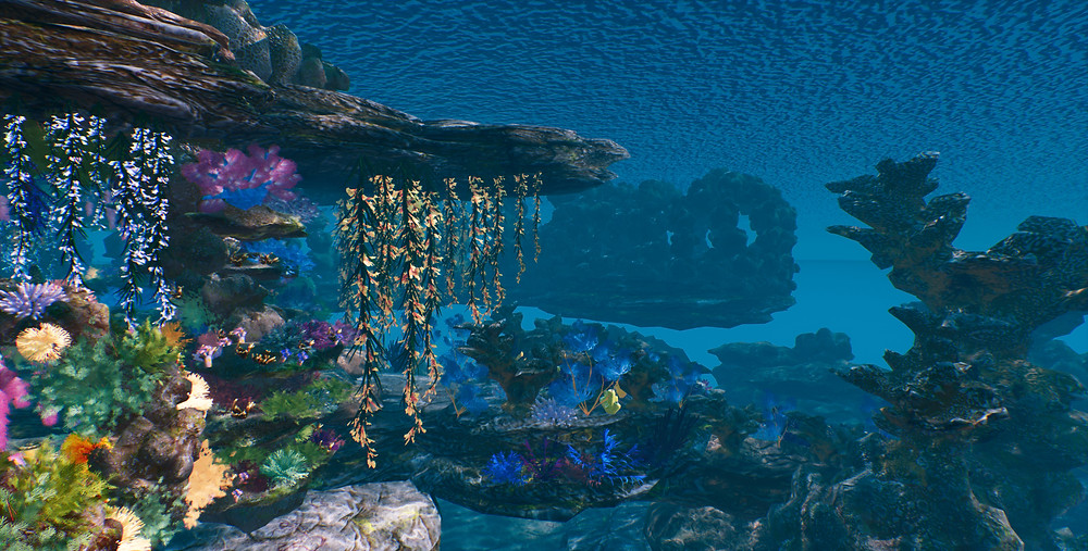 Screenshot from The Lost City of Mer's player-owned coral garden.