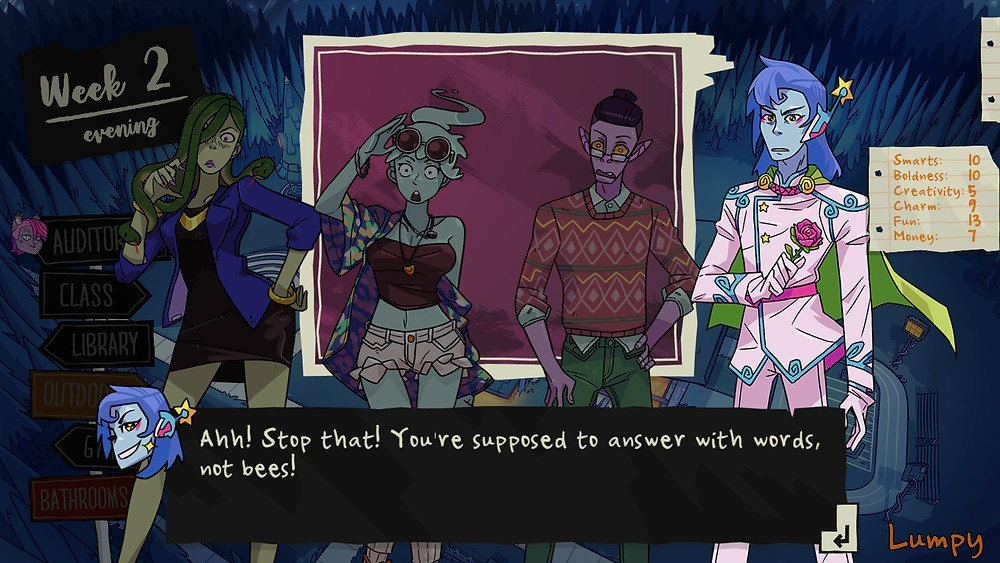 """Four monster characters stand in a straight line, looking surprised. The dialogue says """"Ahh! Stop that! You're supposed to answer with words, not bees!"""""""