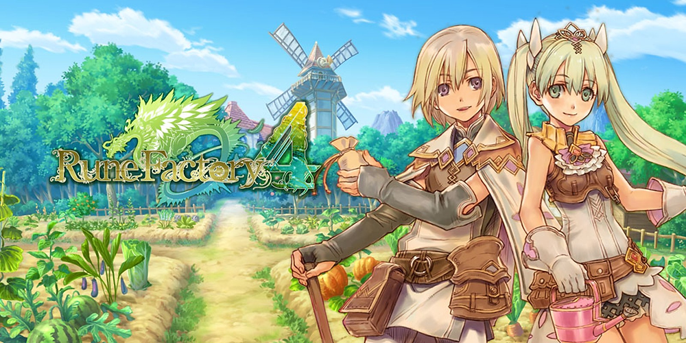 Two characters stand in front of a farm with a windmill in the background.  The Rune Factory 4 title is in the foreground.