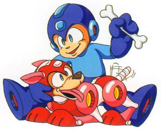 Mega Man pets his dog, who wags its tail.