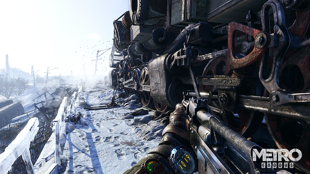 Artyom holds a gun and stands in the snow outside his train, the Aurora.