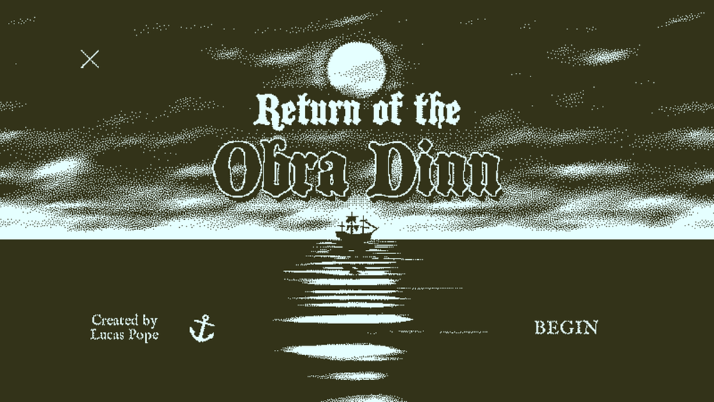 """A ship floats on the ocean under a full moon.  The text read """"Return of the Obra Dinn, Creatied by Lucas Pope, Begin"""""""