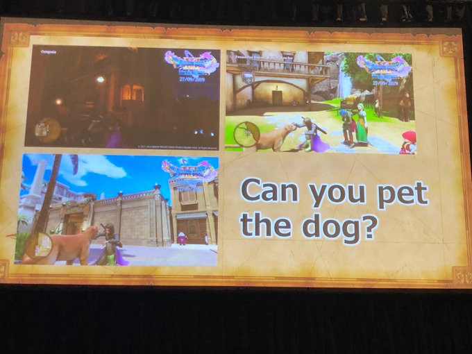 """A projector screen displays three screenshots from a video game with the caption """"Can you pet the dog?"""""""
