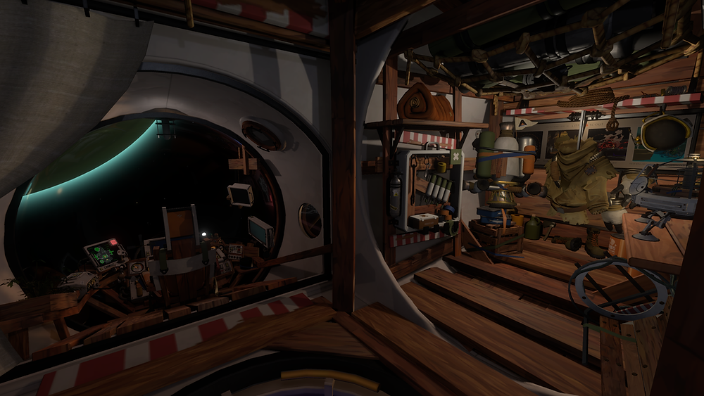 The cluttered interior of a space ship, including supplies storage and a pilot seat