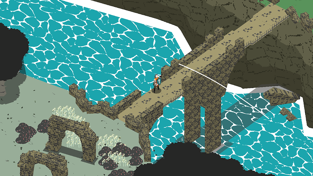 A character crosses a bridge over a large flowing river