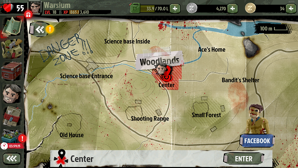 """A map of the surrounding area. The places labelled are """"Science base Entrance,"""" """"Old House,"""" 'Shooting Range,"""" """"Small Forest,"""" """"Bandit's Shelter,"""" """"Ace's Home,"""" and """"Woodlands."""" The Woodlands area is colored red to indicate the main character's presence there."""