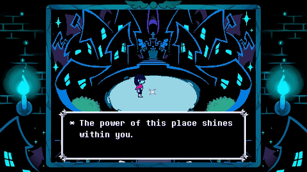 """A character stands on a circular floor. There are houses in the background. A dialogue box reads """"The power of this place shines within you."""""""