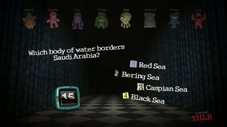 """Eight plushies dangle from the ceiling over a checkerbox floor. Floating text asks the question: """"Which body of water borders Saudi Arabia? 1) Red Sea 2) Bering Sea 3) Caspian Sea 4) Black Sea.""""  A timer is ticking down from 15 seconds."""