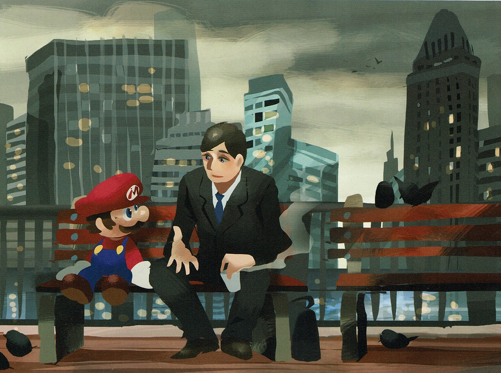 Mario sits on a bench next a man in a suit.  Behind them is a city skyline.