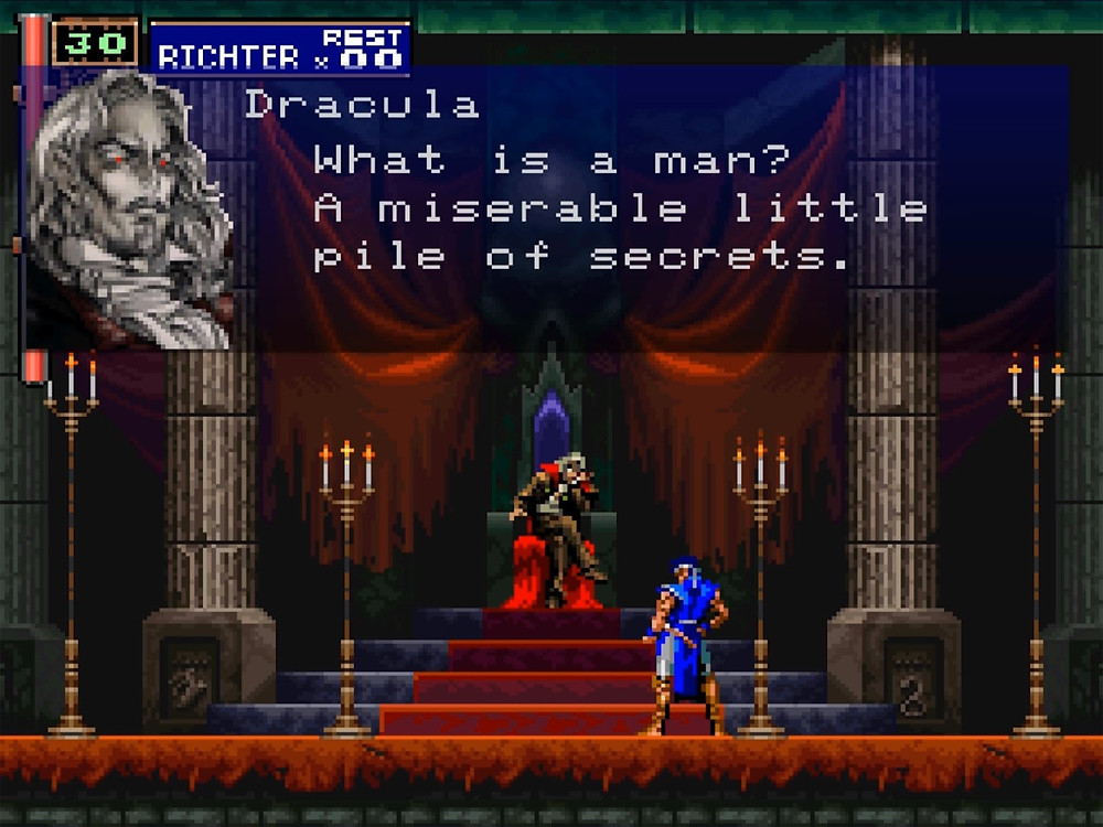 """One character sits on a throne, while another stands at the bottom of the stairs facing him. The dialogue says """"What is a man? A miserable little pile of secrets."""""""