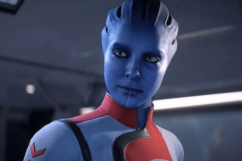 Dr. Lexi T'Perro, a female-identifying asari, looks just past the camera.