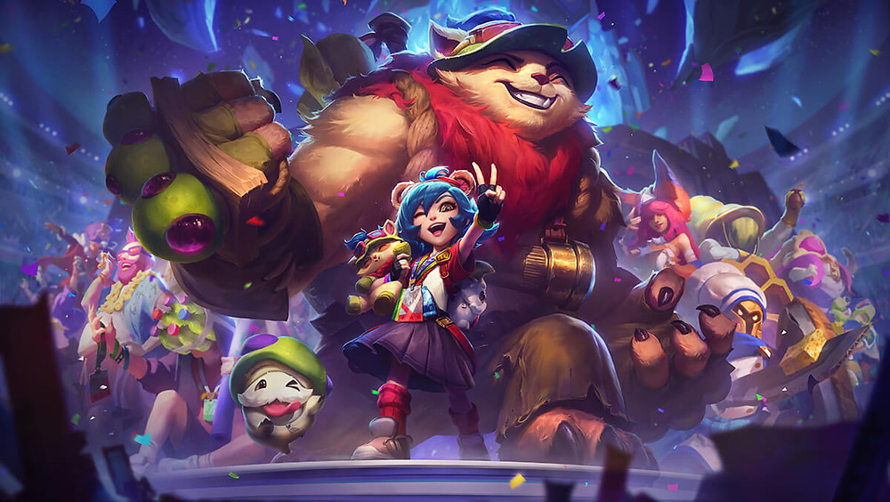 10th Anniversary skin, Annie-versary, features champion Annie standing in front of her bear, Tibbers, who is dressed up as Teemo, another champion. Surrounding them are other champions on a platform, celebrating the game.