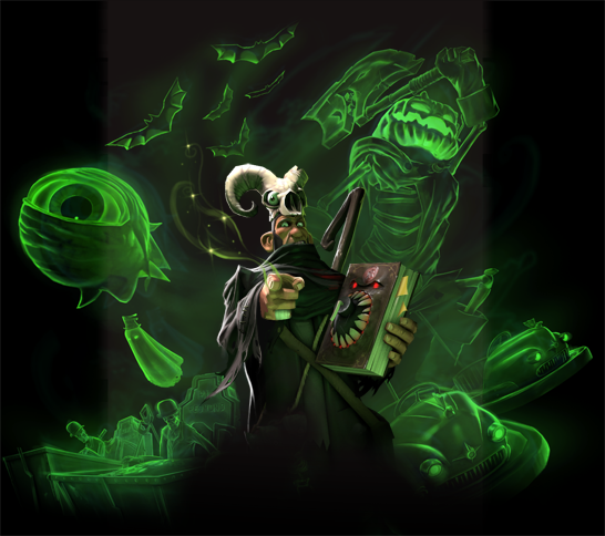 A character in a black robe with a skeleton headdress, shepherd's crook, and monstrous book stands and points directly forward. Surrounding him are various bright green spectral forms such as bats and giant glowing eyes.