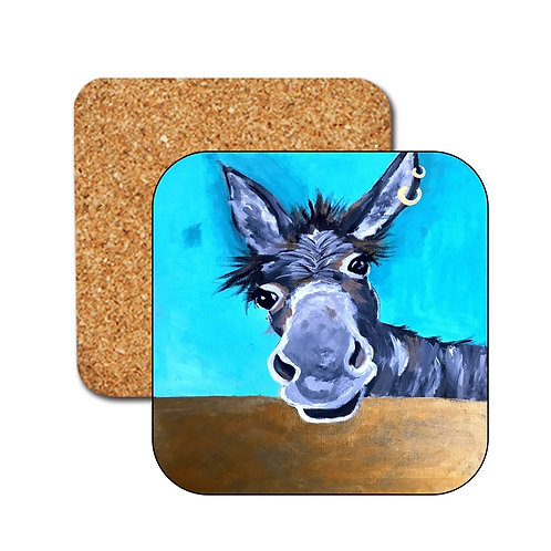 Doreen the Donkey,  colourful Coasters, from original painting