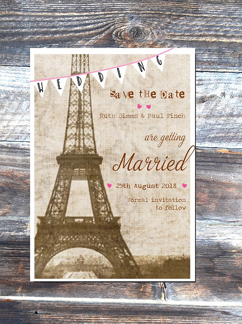 Paris save the date wedding cards