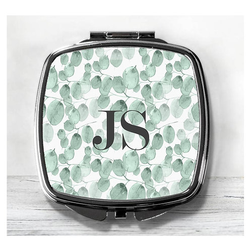Personalised with Name or Initials Botanical Compact Mirror