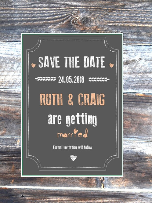 Rustic Ruthy save the date wedding cards