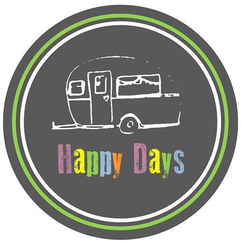 Caravan - Happy Days Round Glossy Coasters