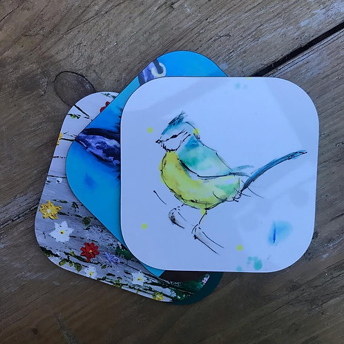 Sweet Little Birdie Coasters, from original painting