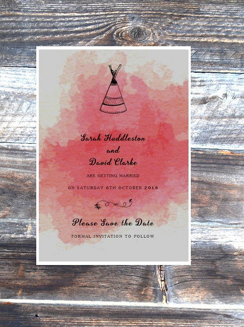 Tipi save the date wedding cards