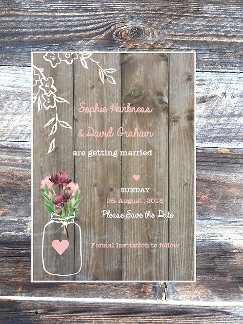 Sweet love save the date wedding card