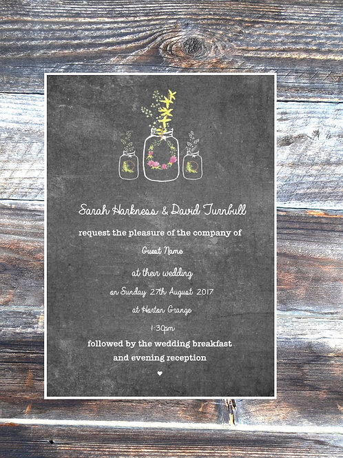 Chalkboard & Mason Jars Save the Date