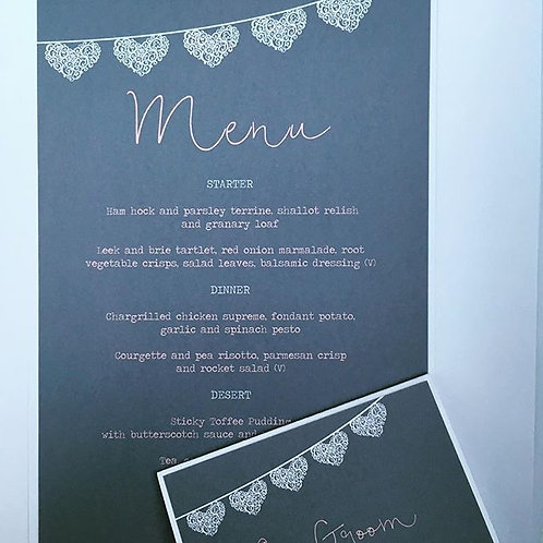 Menus, place settings and order of service