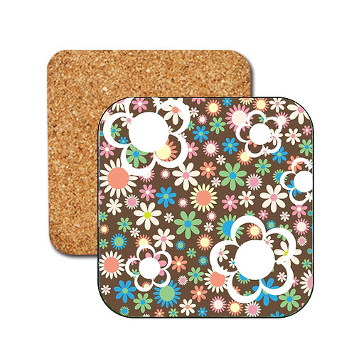 Retro Flower Power Coasters. Colourful flower design.