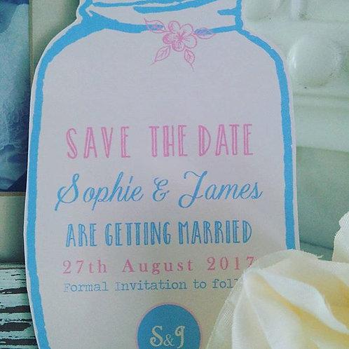 Shaped mason jar save the date wedding card