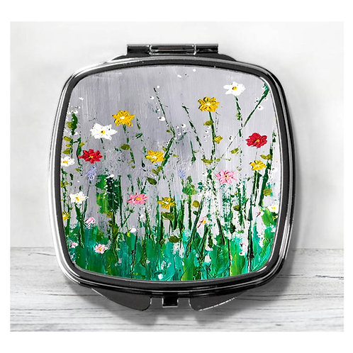 Colourful Meadow, Flowers, Compact Mirror.
