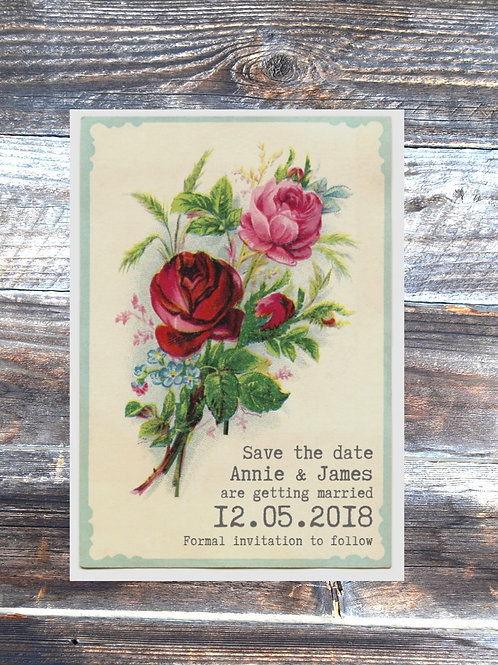 Rustic rose save the date wedding cards