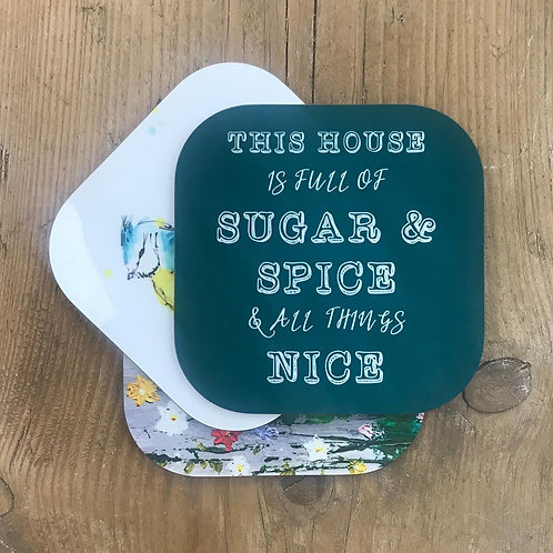 Sugar & Spice Coasters,  Typography, Glossy Coasters, choice of colours.