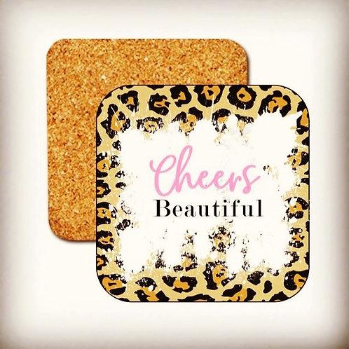 Cheers Beautiful, Animal Print, Coasters,