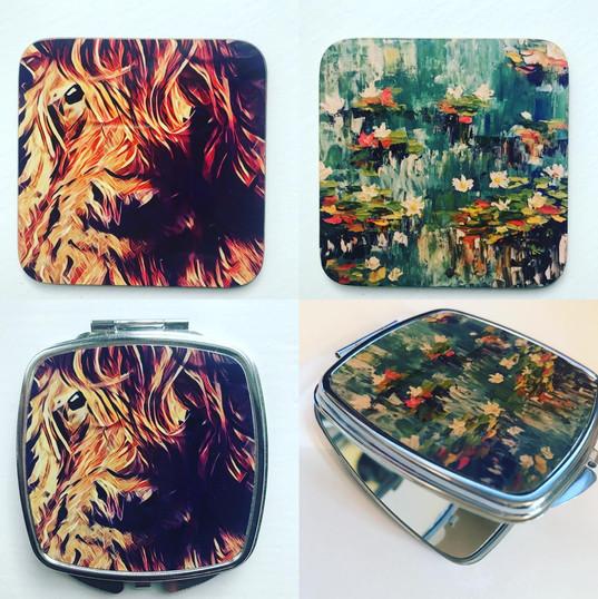 Printed coasters and compact mirrors.jpg