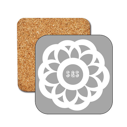 Retro Daisy Flower Personalised Coasters with Initials