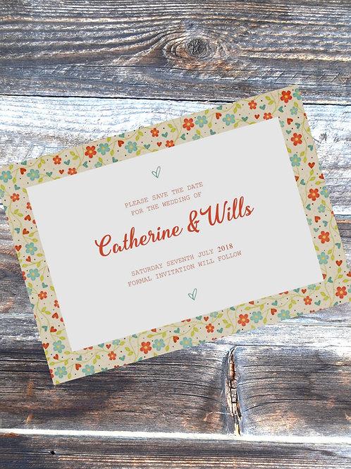 Wild flower save the date wedding card