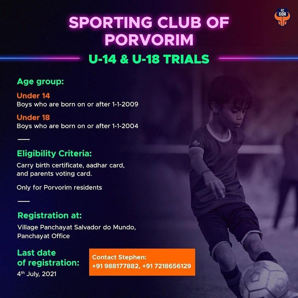 fc goa football trials / Upcoming football trials in India