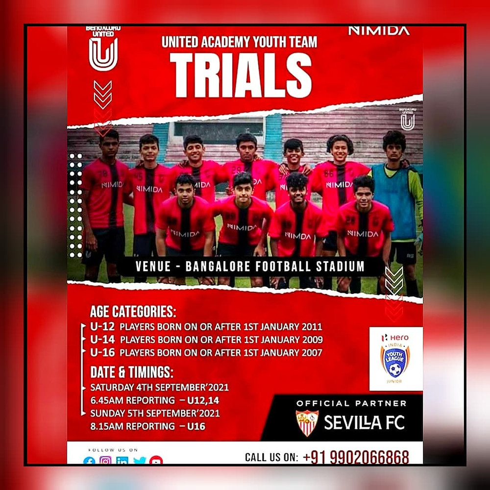 united academy football trials Bangalore / upcoming football trials in Indi