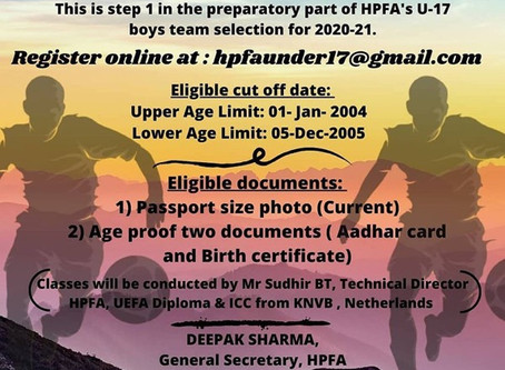 HPFA U-17 BOYS UPCOMING FOOTBALL TEAM TRIALS(STEP-1) ONLINE