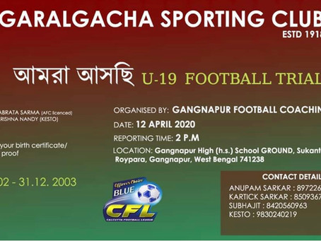 Garalgacha Sporting club, Kolkata trials