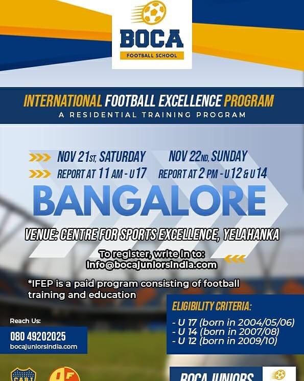Upcoming football trials in India | Boca juniors football school