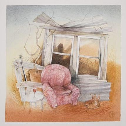Medium: Pencil, watercolour, pastel + charcoal on paper