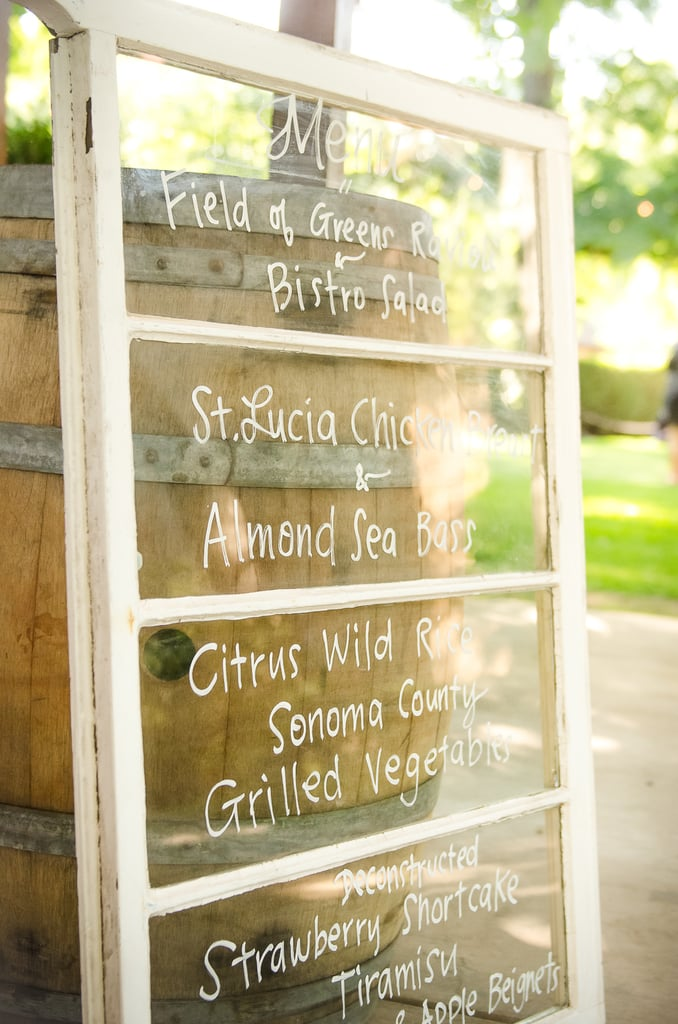 Napa Wedding Menu
